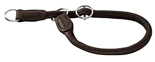 HUNTER Round & Soft Elk Dressurhalsung, Hundehalsband, Leder, weich, rund, fellschonend, 50 (M-L), dunkelbraun