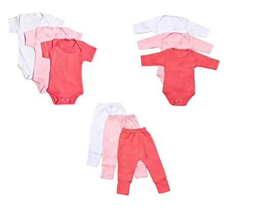 Body Bebê e Calça Mijão Kit 9 Peças Feminino (Recém-nascido)