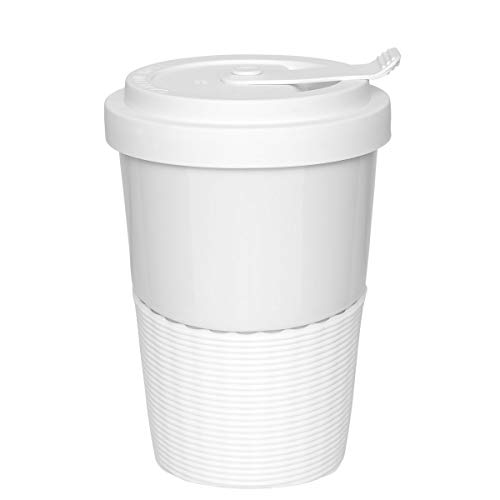 Mahlwerck Wave Kaffeebecher to go, Porzellan Kaffee to go Becher mit auslaufsicherem Deckel, Weiß, 350ml