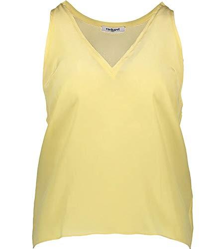 Cacharel Sommer-Shirt Zeitloses Seiden-Top für Damen mit weitem Armausschnitt Freizeit-Shirt Mode-Shirt Gelb, Größe:36