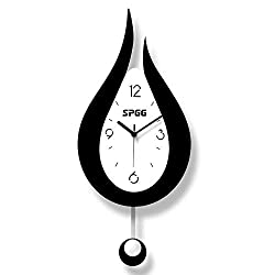 XSZ Modern Design Large Silent Water Drop Wall Clock Battery Operated for Kitchen Office Living Room Bedroom Decorative (9.5X 20.4 WxL)