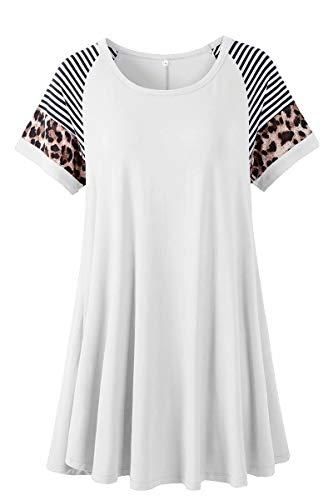 LARACE Leopard Print Tops for Women Short Sleeve Plus Size Tunic Striped Long Tee Shirt for Leggings(White 3X)