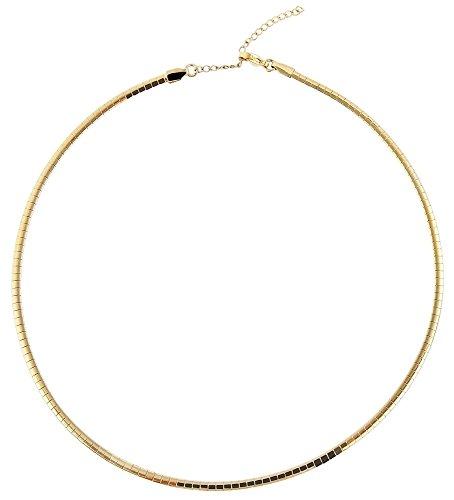 Akzent Omega Edelstahl Halsreif Reif Halskette Goldfarbig mit Karabinerverschluss 2350000125 Kettenlänge 45 cm + 5 cm Verlängerung