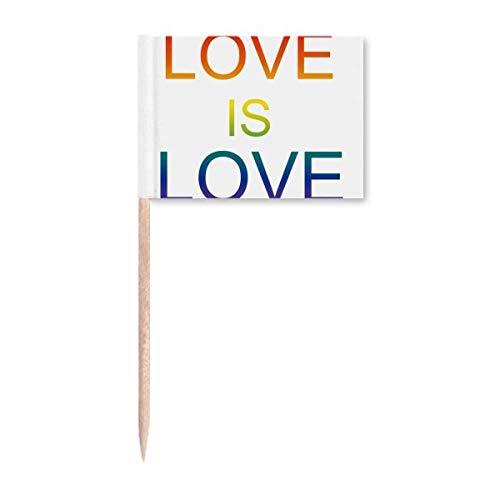 """LGBT Zahnstocher mit Regenbogenflagge """"Love is Love"""""""