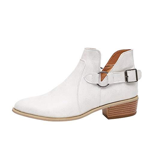 WUSIKY Bootsschuhe Damen Stiefeletten Boots Damen Fashion Stiefel Spitz Martin Stiefel Klassische Stiefeletten Freizeitschuhe (Weiß, 39 EU)