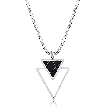 Handmade Long Stainless Steel Necklace For Men With Triangle Pendant - Silver Necklace For Men - Geometric Necklace For Men By Galis Jewelry