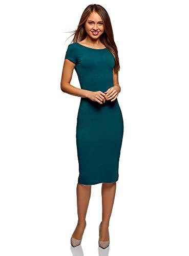 oodji Collection Mujer Vestido Midi con Escote en la Espalda, Verde, ES 36 / XS