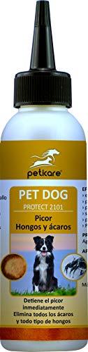 Peticare Perro Tratamiento Eficaz - 100% Biológico contra Picor, Hongos yAnti-Ácaros en Perros, Demódex, Ácaros de la Sarna y Otras Especies, Detiene Picazon Fuerte - petDog Protect 2101