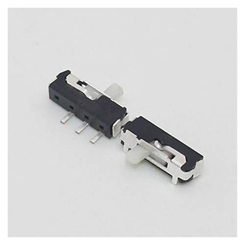 Interruptores de palanca 10pcs 3 Pin Mini interruptor deslizante de encendido y apagado 2 Posicione Micro Slide Interruptor de palanca miniatura de interruptor deslizante horizontal límite Micro blanc