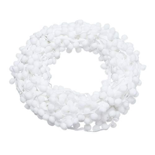 Healifty - Cinta de pompones para decoración de fiestas, color blanco