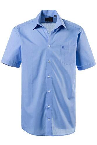 JP 1880 Herren große Größen bis 8XL, Kurzarm Businesshemd aus Reiner Baumwolle, mit Brusttasche, Variokragen & Comfort Fit blau 3XL 705178 71-3XL