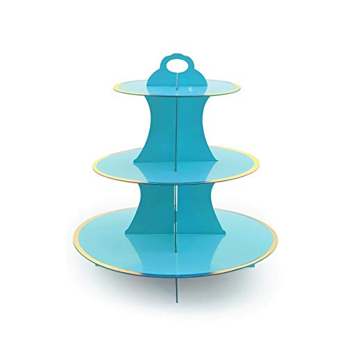 iFavor123 Round Solid BLUE Gold Trim Premium Sturdy Cardboard Cupcake Stand Dessert Tower Treat Stacked Pastry Serving Platter Food Display Blue