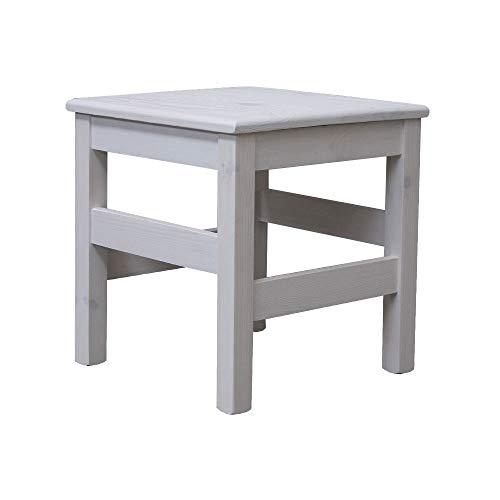 Elean Massivholz Sitzhocker Kiefer Beistelltisch Holzhocker Blumenhocker TM 01 NEU (Weiß)