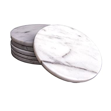 CraftsOfEgypt Set of 6 - White Marble Stone Coasters – Polished Coasters – 3.5 Inches (9 cm) in Diameter – Protection from Drink Rings