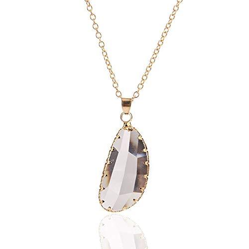 RQZQ halsketting, modesieraad, nieuwe eenvoudige gouden ketting, transparante kristal, hanger, halsketting, lange halsketting, choker, halsketting, vrouwen