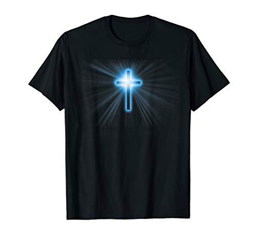 Blau Jesus Christian Kreuz Religiöses Christliches Kreuze T-Shirt