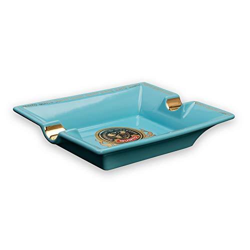 QUNTO Aschenbecher Keramik in Blau (2er) - ideal als Zigarrenaschenbecher, Aschenbecher für 2 Zigaretten oder Zigarren, edles Design & Premium Qualität