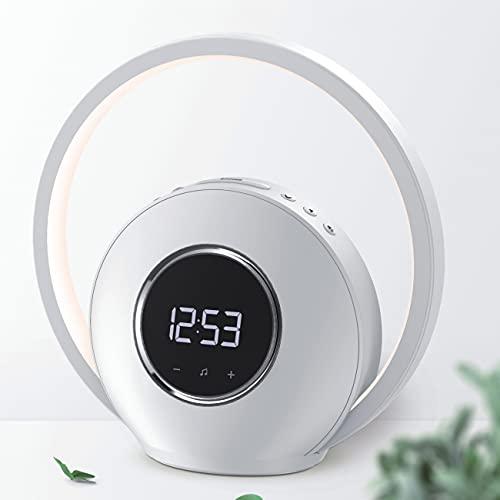 WILIT Nachttischlampe Touch Dimmbar mit Wecker, Tischlampe mit Bluetooth Lautsprecher, 5 Natürlichen Wecktöne, Wake up Light Lichtwecker, Sonnenaufgangsfunktion