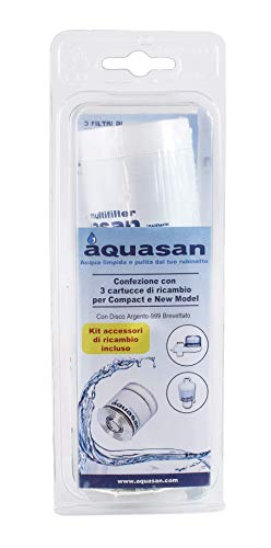 aquasan 3 Cartucce Filtro di Ricambio per Depuratore MOD. Compact - Watergaia - New Model - in Blister