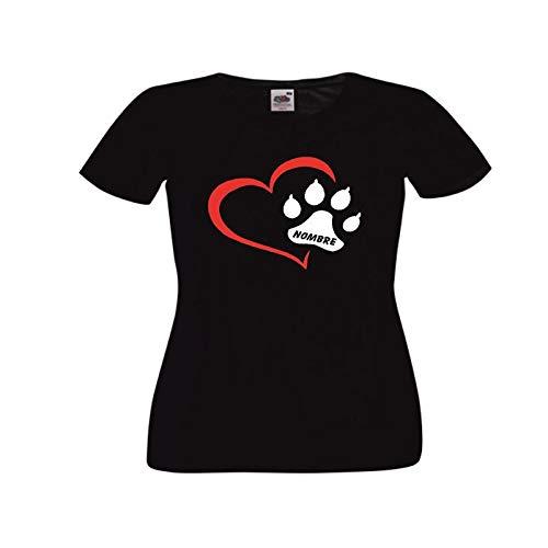 Camisetas Divertidas Corazon con Huella de Perro y Nombre (escribe el Nombre Que desees Tras Realizar el Pedido en información del Pedido) - para Mujer Camisetas Talla XL Color Negro