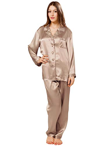 ElleSilk Luxuriös Seiden-Pyjamas für Frauen, Damenpyjama Langärmlig, 22 Momme, Komfortabel, Champagnerfarbe, M