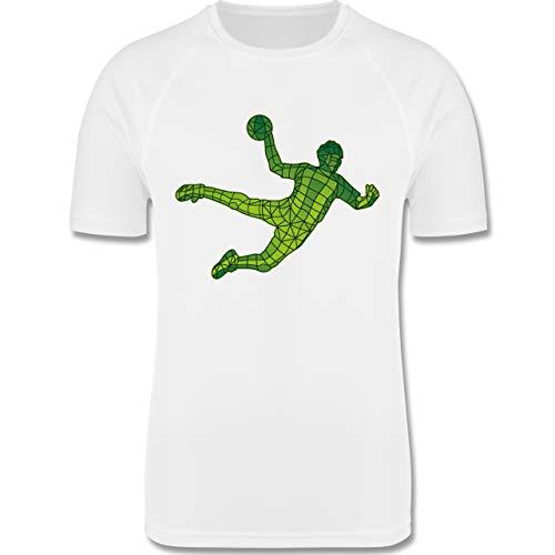 Sport Kind - Handballer Polygone - 116 (5/6 Jahre) - Weiß - Laufshirt - F350K - atmungsaktives Laufshirt/Funktionsshirt für Mädchen und Jungen