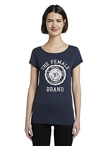 TOM TAILOR Denim Damen Basic Crew-Neck T-Shirt, Blau (Real Navy Blue-10360), XXL
