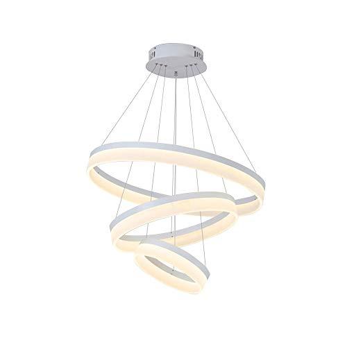 Luz del colgante de techo LED moderno 3 anillos (20 + 40 + 60 cm) Art Deco Down Light Chandelier Tricolor Lámpara de colgante regulable para dormitorio Sala de estar Cocina [Clase de energía A ++]