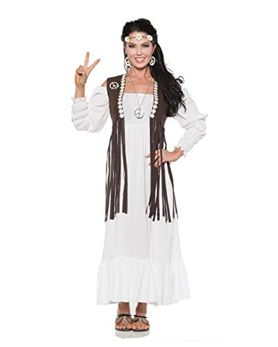 Horror-Shop Hippie Woodstock Kleid mit Fransenweste S