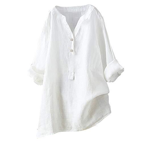 Mujeres Elegantes Camisa de Manga Larga Blusas de Verano y Camisas Casual Sólido Tallas Grandes Cuello en V Moda Suelta Blusa Soporte Blusa Camisa Superior riou