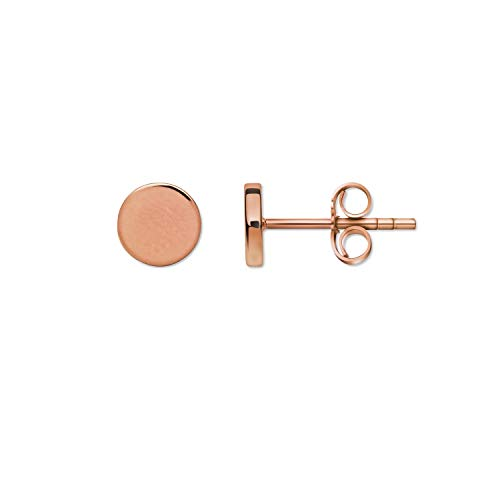 Round Rose Gold Plated Stud Earrings 1 Pair of Earrings in 925 Sterling Silver 7mm Thickness Jewellery for Men and Women Small Gift for Valentine's Day, Birthday, Anniversary, Wedding