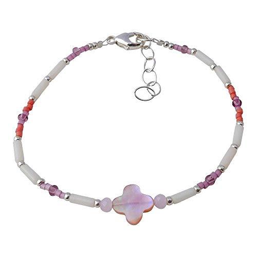 Bracciale Quadrifoglio in madreperla rosa e corallo bianco. brna2501