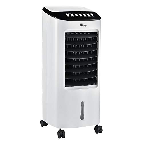 Juskys Klimagerät mobil mit Fernbedienung & Wasserkühlung - ohne Abluftschlauch – 65 W - 3 Geschwindigkeiten – 7L Wassertank Luftkühler Klimaanlage