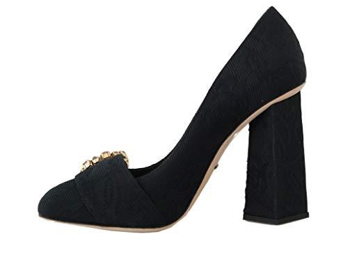 Dolce & Gabbana Black Jacquard Floral Crystal Pumps Shoes (Numeric_9)