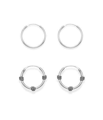 SET of 2 PAIRS Sterling Silver Hoop Earrings: 15mm Bali Hoops and 14mm (1/2 inch) Plain Hoops. Gift Boxed. MUCH SMALLER THAN SHOWN!!! 6207/SET