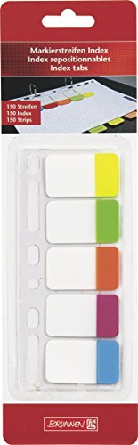 Brunnen 1055887 Markierstreifen Index (Neonfarben transparent, rückstandfrei ablösbar, 150 Markierstreifen, abheftbar)