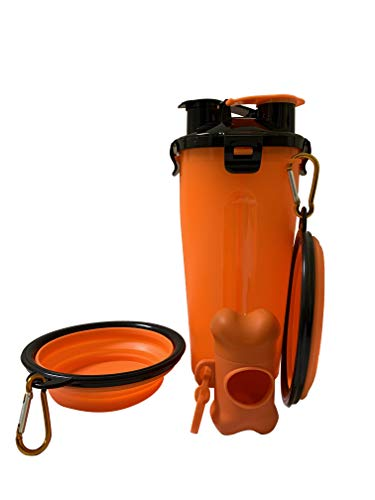 N/H 2in1 Dog Water Bottle Pet Food Container with 2 Collapsible Dog Bowls and Cute Poop Bag Storage Tool for Walking Travelling Camping, Portable Drinking Bottle for Cat Puppy (Orange)
