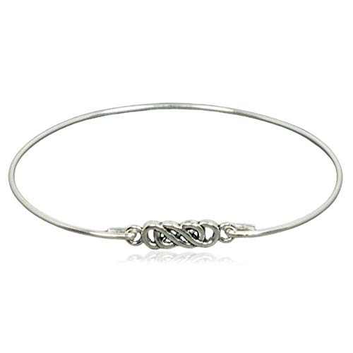 Intertwined Celtic Eternity Knot Forever Love Charm Bangle Bracelet - Sterling Silver Filled, 8'