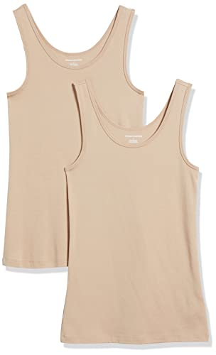 Amazon Essentials Damen Tanktop, schmale Passform, 2er-Pack, Beige (Nude), Small