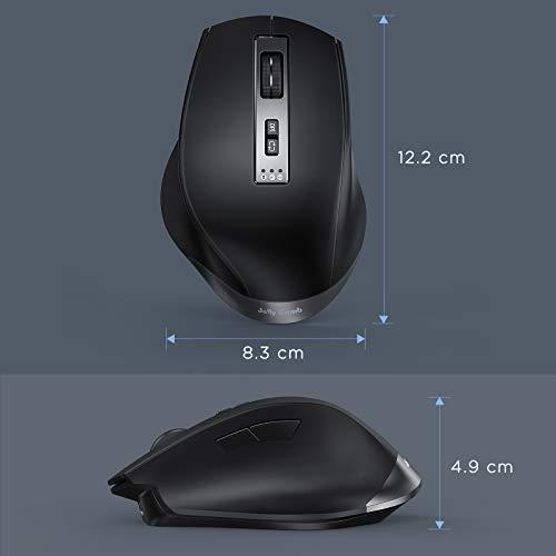 Jelly Comb Kabellose Bluetooth Maus, Dual-Mode 2,4G USB Maus und Bluetooth-Maus wiederaufladbar leise Ergonomische Maus mit 7 Tasten, Schwarz