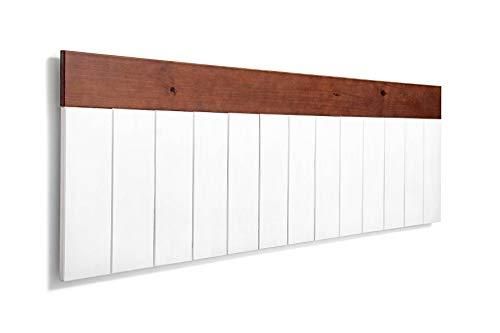 SUENOSZZZ-ESPECIALISTAS DEL DESCANSO Cabecero de Cama de Madera BULNES para Pared. Cabecero de Tablas Blancas, Superior Horizontal Nogal. Estilo Vintage, para Camas de 150
