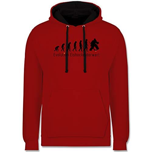 Shirtracer Evolution - Eishockeytorwart Evolution - S - Rot/Schwarz - Eishockey Evolution - JH003 - Hoodie zweifarbig und Kapuzenpullover für Herren und Damen