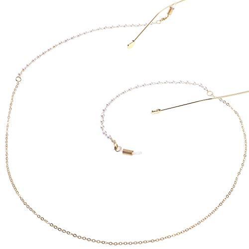 Siwetg Brillenketting, gesimuleerde parels, mini parels, riem, antislip, halsketting, decoratief koord, snoer, modieus, goudkleurig leesbril