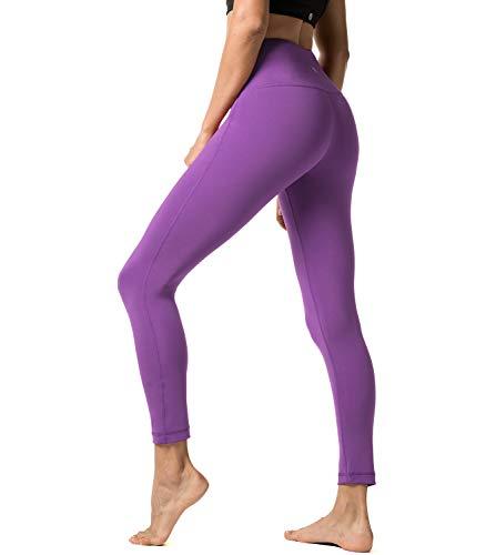 LAPASA Damen Leggings Yoga Sport Pants Lang High Waist L01, Gr.-34/S, Purple