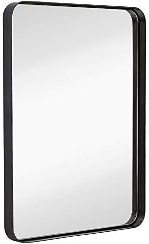 Hamilton Hills Contemporary Brushed Metal Wall Mirror | Glass Panel Black Framed -