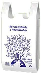 YMBERSA Bolsa Camiseta Reutilizable desechable Greenatur Grande (48 x 59 cm) para Comercio Tiendas. Plástico Reciclado 65%. Apta Uso alimentario. Color Blanco. Paquete 100 Ud