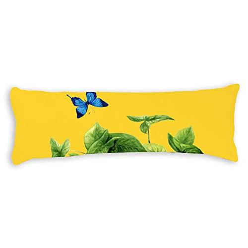 Fundas de almohada para el cuerpo, 1,4 m, con cremallera, hojas verdes y mariposa, funda de almohada de algodón para el cuerpo, suave para adolescentes y niñas