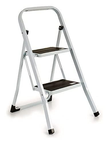 TU TENDENCIA UNICA Escalera Metal Plegable Blanca 2 escalones Negros