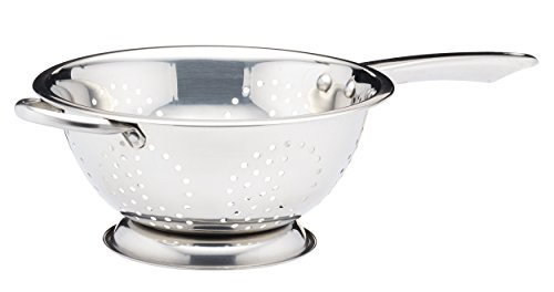 KitchenCraft KCCOLCC24 Footed Colander with Long Handle, Stainless Steel, 24 cm, Silver