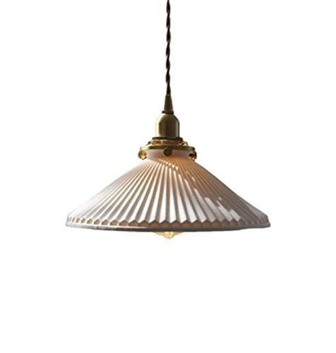 Lámpara colgante de cerámica de latón blanco con base E14 para sala de estar, cocina, pasillo, cocina isla